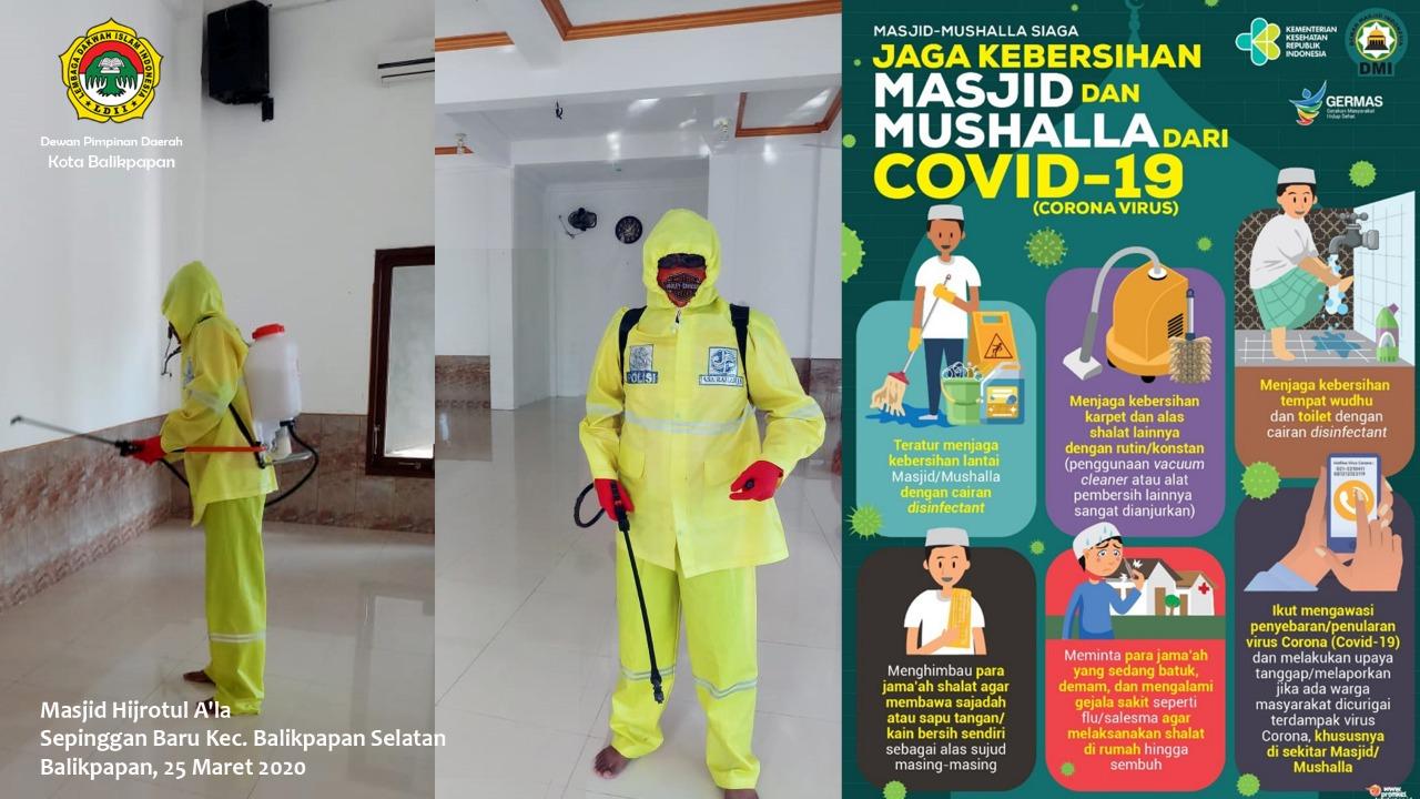Petugas penyemprotan disinfectant di Masjid Hijrotul A'la Sepinggan Baru Balikpapan Selatan, Rabu (25/3). Foto: Istimewa