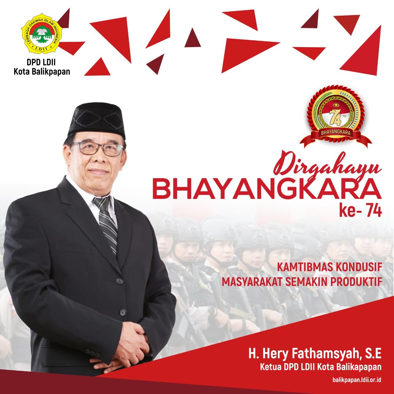 H Herry Fathamsyah Ketua LDII Balikpapan mengucapkan selamat Hari Bhayangkara 1 Juli 2020, Kamtibmas Kondusif Masyarakat Produktif.