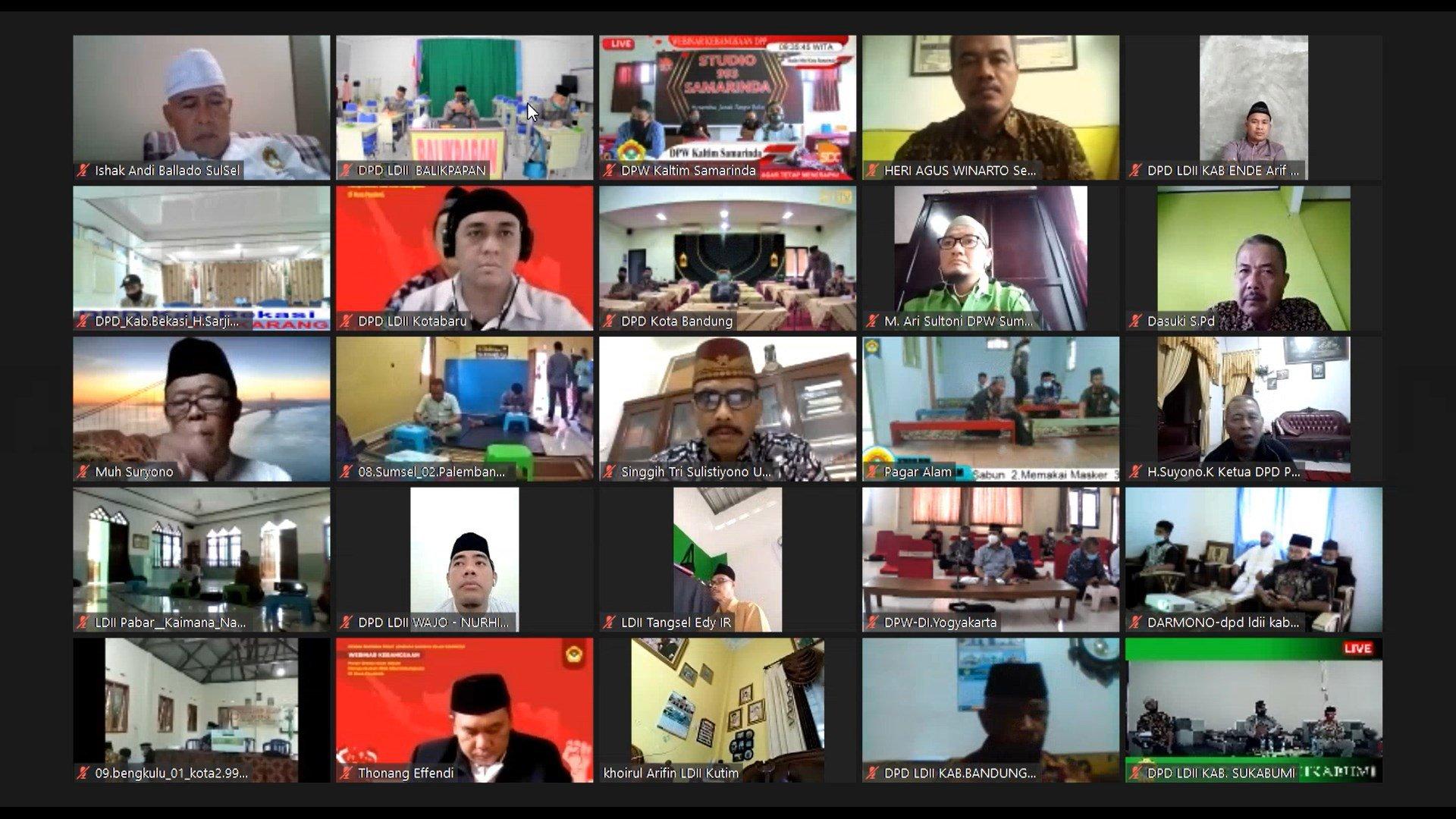DPD LDII Balikpapan mengikuti Webinar yang diselenggarakan DPP LDII tentang Peran Ormas Islam dalam Memperkokoh Nilai Kebangsaan, Sabtu (20/2). Foto: Tangkapan layar