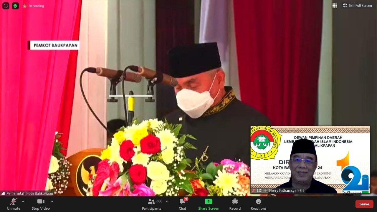 Gubernur Kaltim H Isran Noor saat memberikan sambutan dalam HUT ke-124 Kota Balikpapan, Rabu (10/2). Foto: Zoom Meeting H Herry