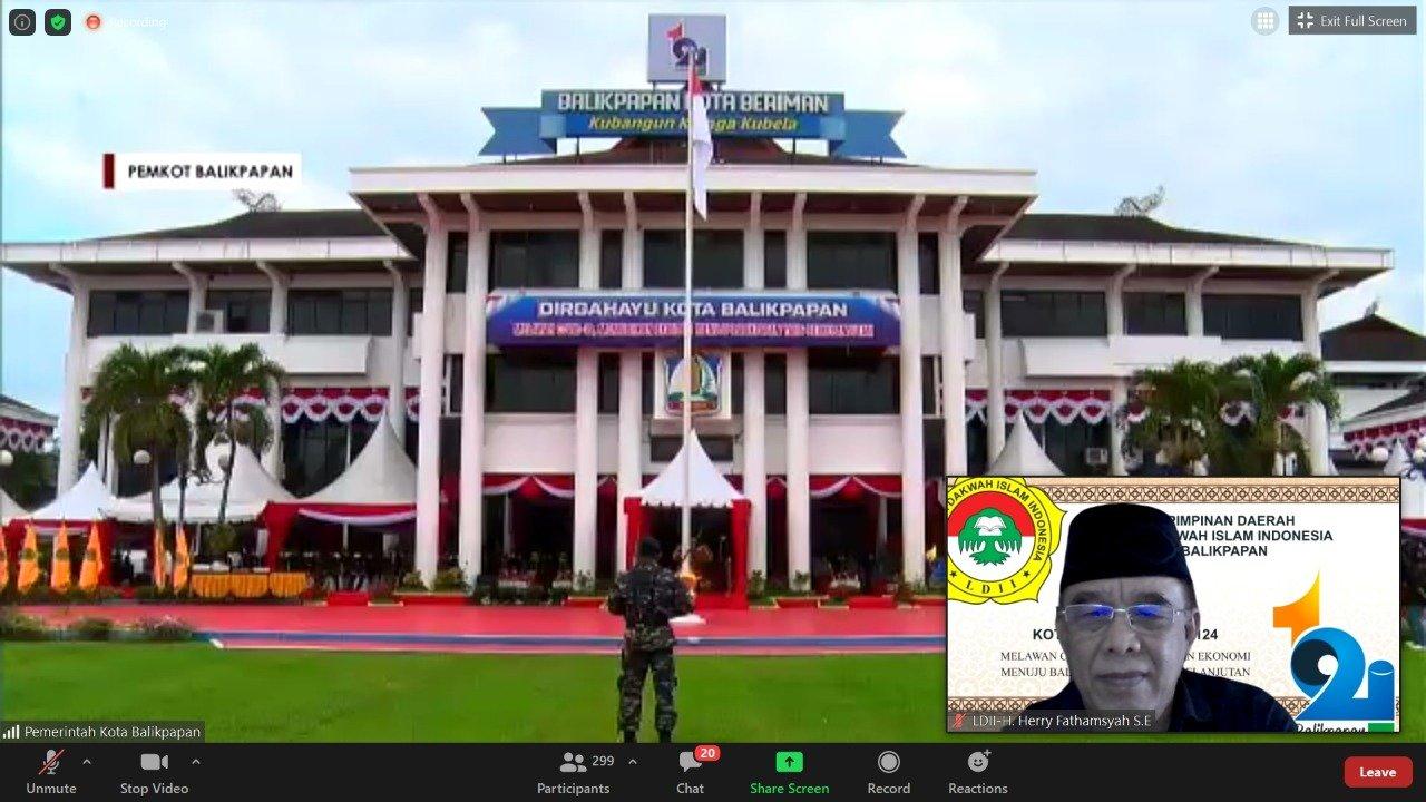 Upacara peringatan HUT ke-124 Kota Balikpapan, Rabu (10/2). Foto: Zoom Meeting H Herry