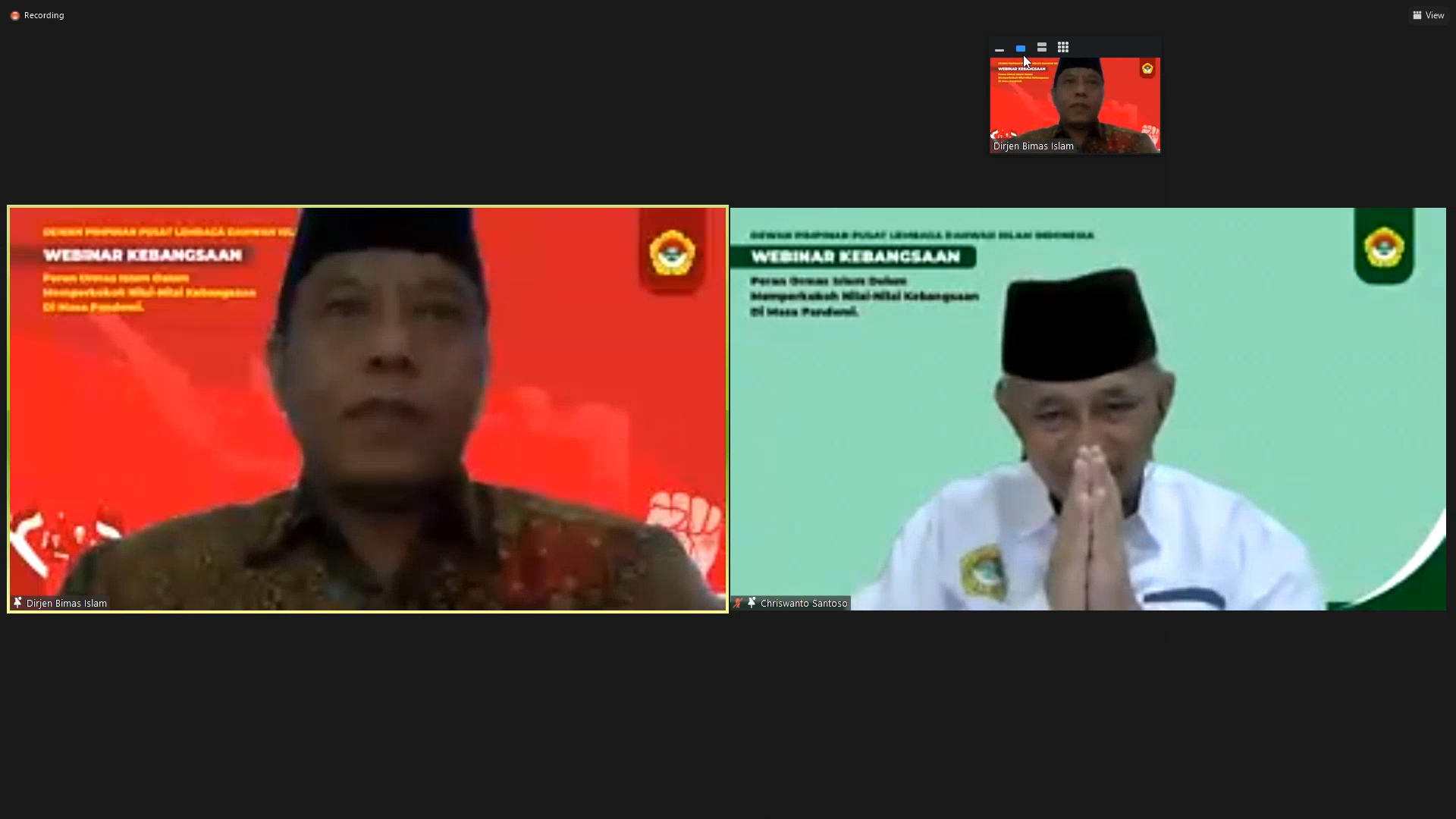 Dirjen Bimas Islam Prof. Dr. Phil. H. Kamarudin Amin M.A. bersama Ketum DPP LDII Ir. H. Chriswanto Santoso, M.Sc. Foto: tangkapan layar