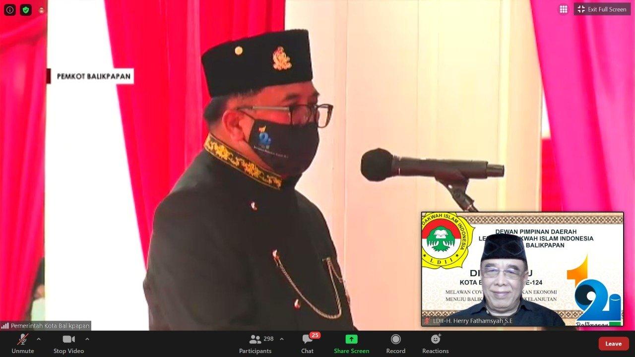 Wali Kota Balikpapan H Rizal Effendi saat memberikan sambutan dalam HUT ke-124 Kota Balikpapan, Rabu (10/2). Foto: Zoom Meeting H Herry